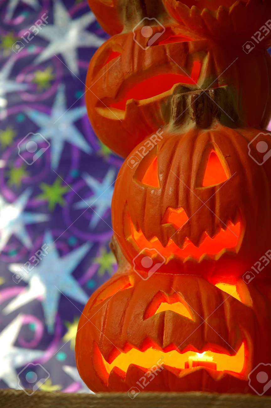 Jack O Lanterns - Halloween Decoration - A Stack Of Pumpkins ...
