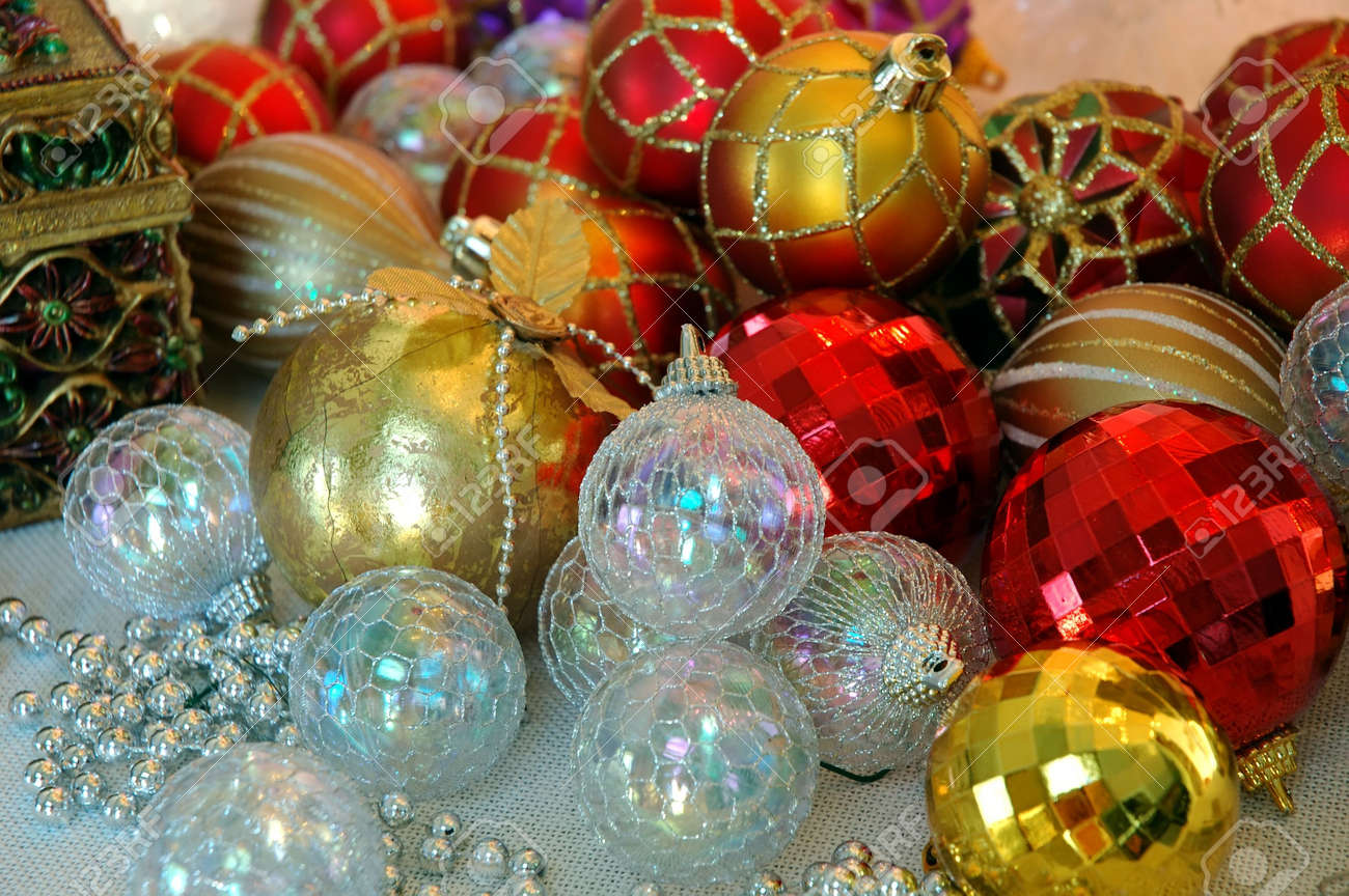 Gold and red ornaments - Christmas Tree Ornaments Dozens Of Red White And Gold Christmas Tree Ornaments Ready For