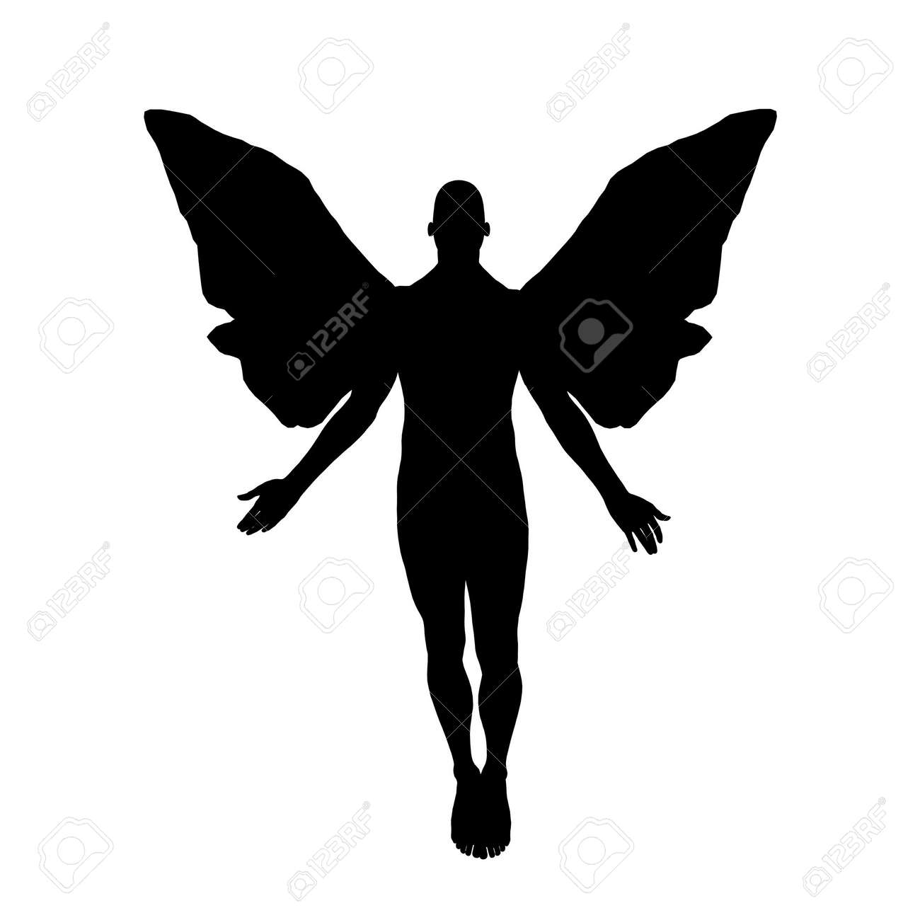 Silhouette of a male angel floating toward heaven. Stock Photo - 483305