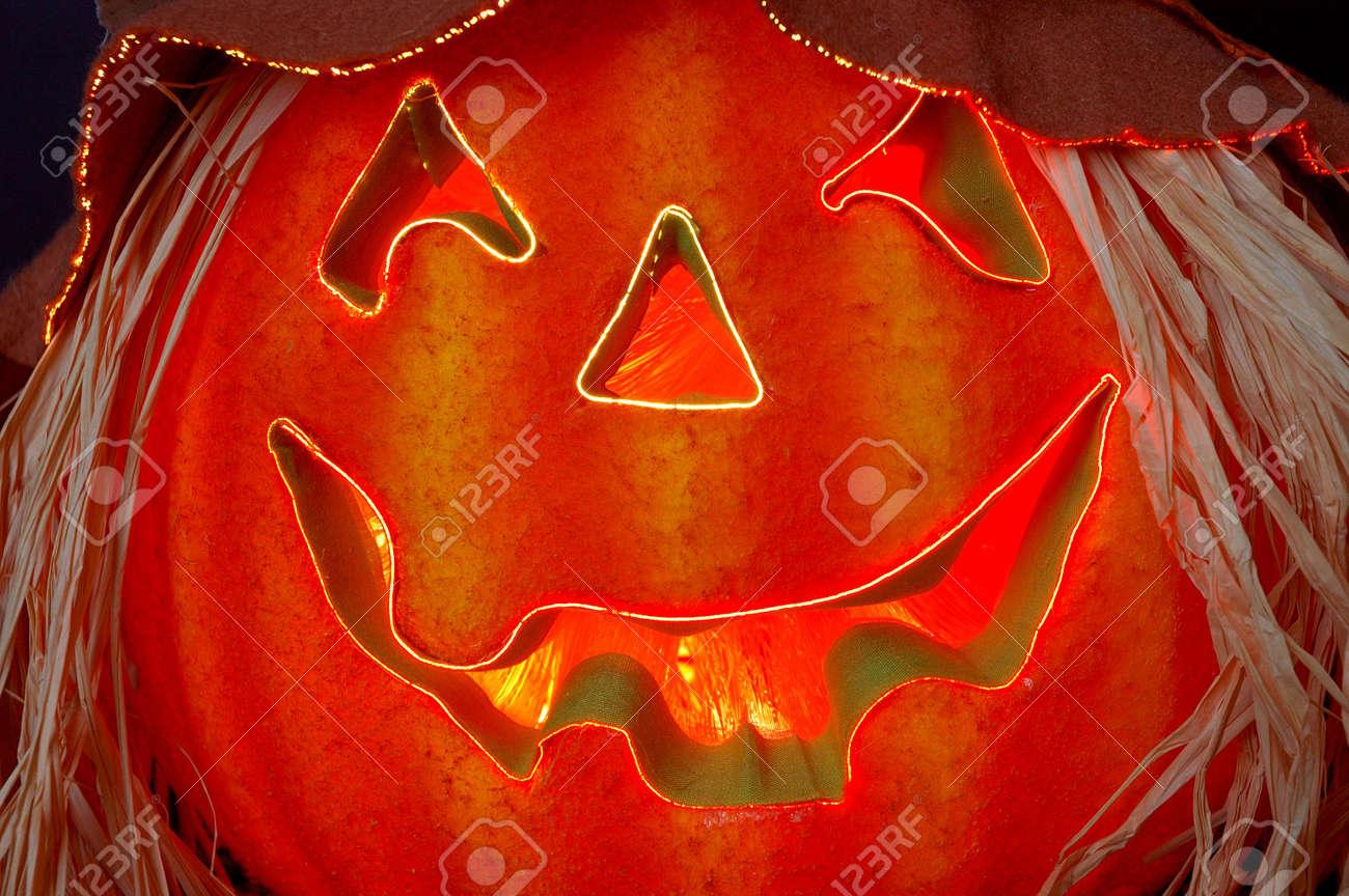 Fiber Optics Lighted Jack O Lantern At Halloween Stock Photo