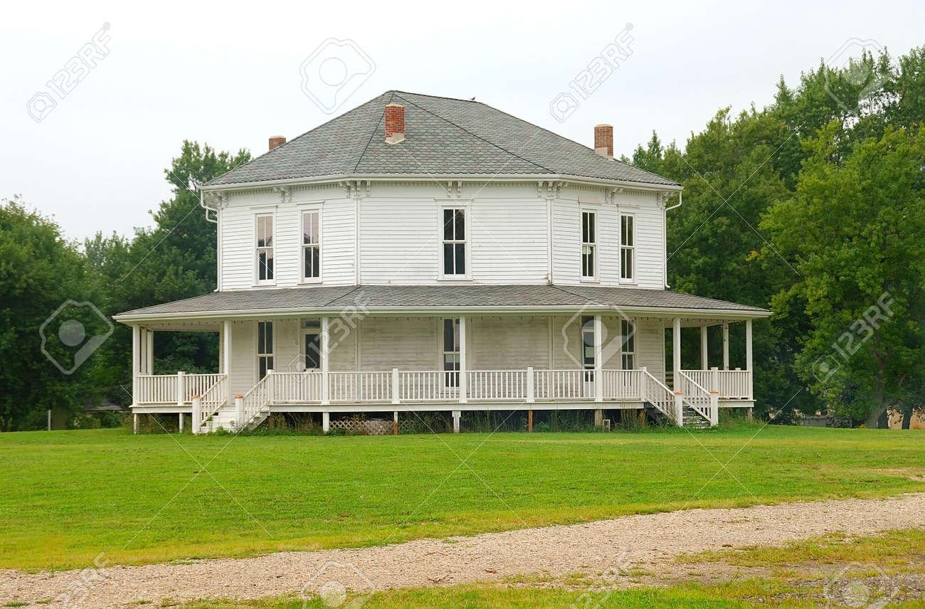 White Octagonal Farmhouse An Old Country Farmhouse With Six