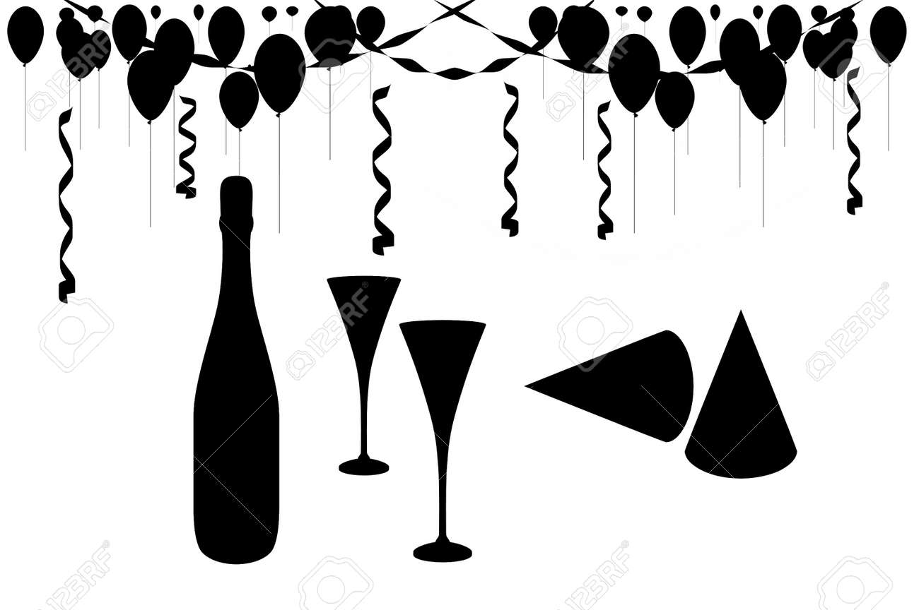 Celebration party silhouette of champagne, streamers, balloons, glasses and party hats. - 548297