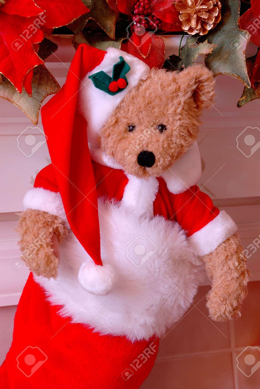 Bear Christmas Stocking.Santa Bear Christmas Stocking Red And White Fur Christmas Stocking