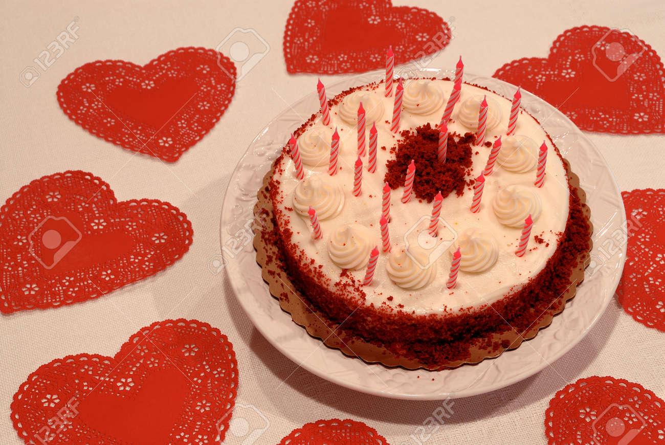 Peachy Valentine Birthday Cake Close Up Of A Birthday Cake And Red Funny Birthday Cards Online Inifofree Goldxyz