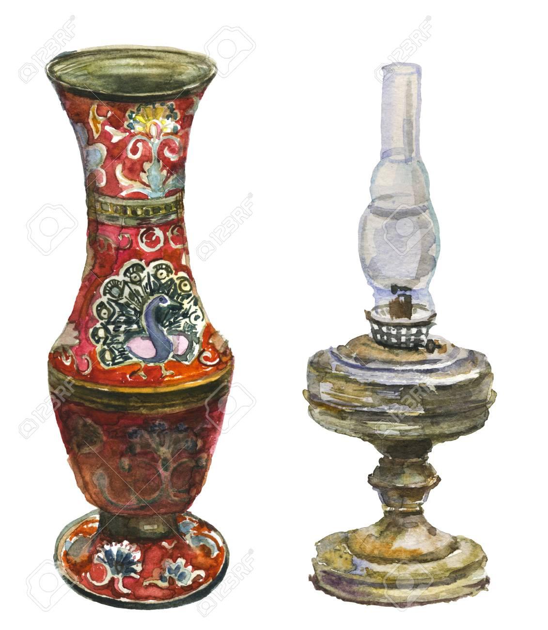 Antique vase and kerosene lamp. Isolated on white Stock Photo - 73536432