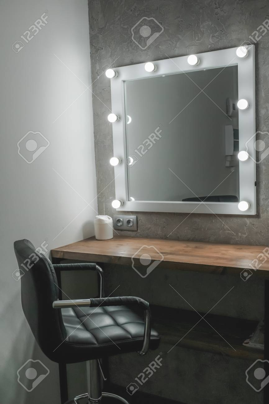 Interior Of A Beauty Salon Room With Makeup Mirror Lights And Stock Photo Picture And Royalty Free Image Image 94754595
