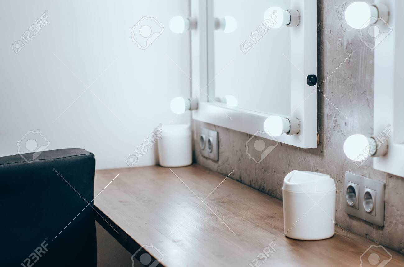 Interior Of A Beauty Salon Room With Makeup Mirror Lights And Stock Photo Picture And Royalty Free Image Image 122274818