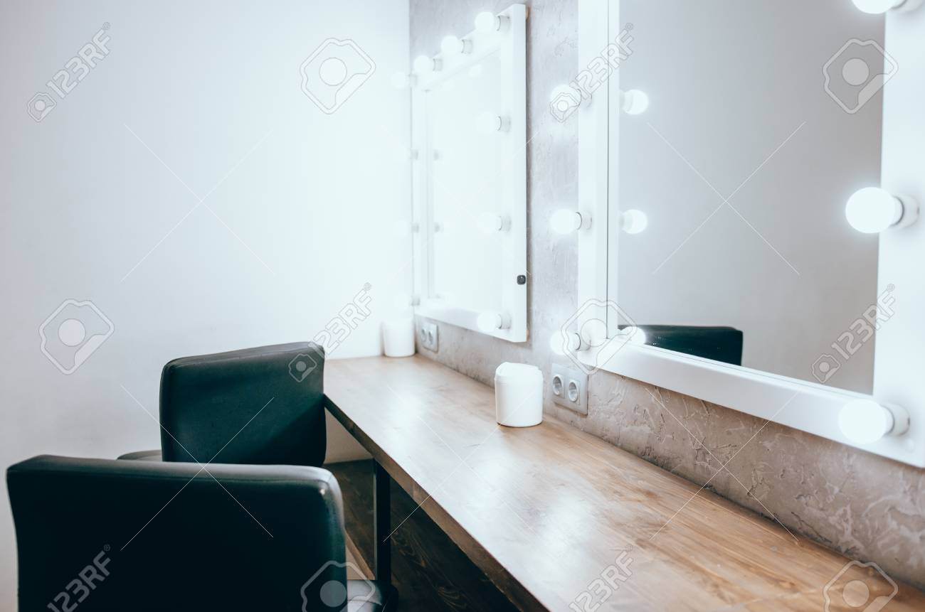 Interior Of A Beauty Salon Room With Makeup Mirror Lights And Stock Photo Picture And Royalty Free Image Image 122274819