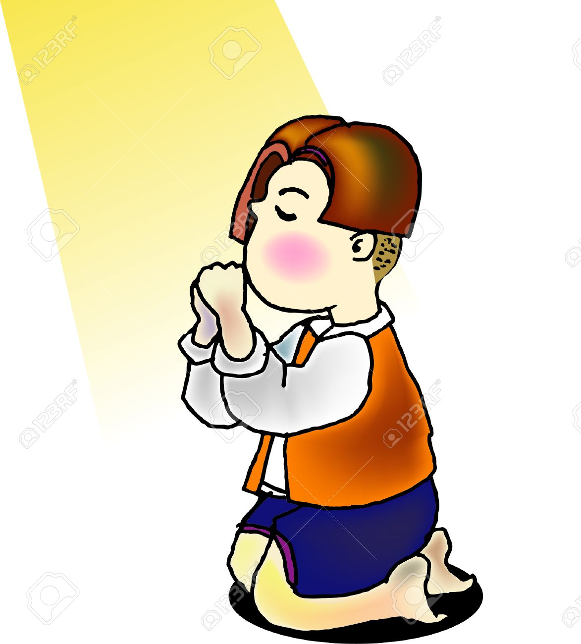 a vector illustration for a little boy is kneeling for praying and a light is shine on him Stock Vector - 2155863