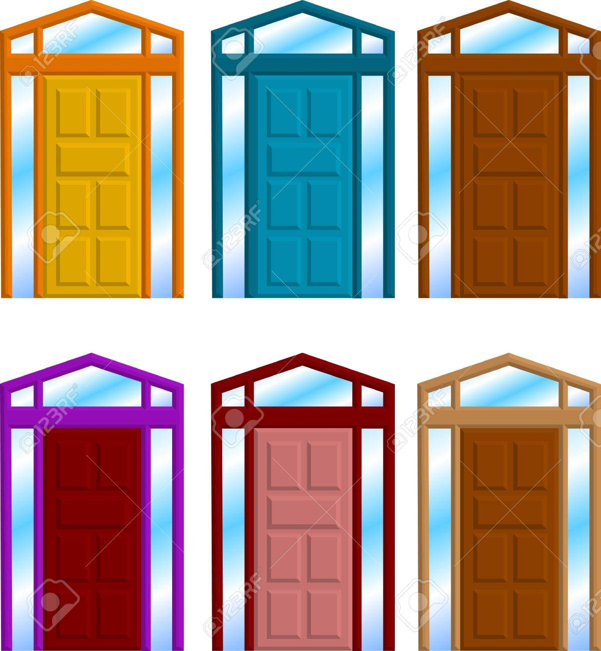A Vector Illustration For A Group Of Door Frame Royalty Free ...
