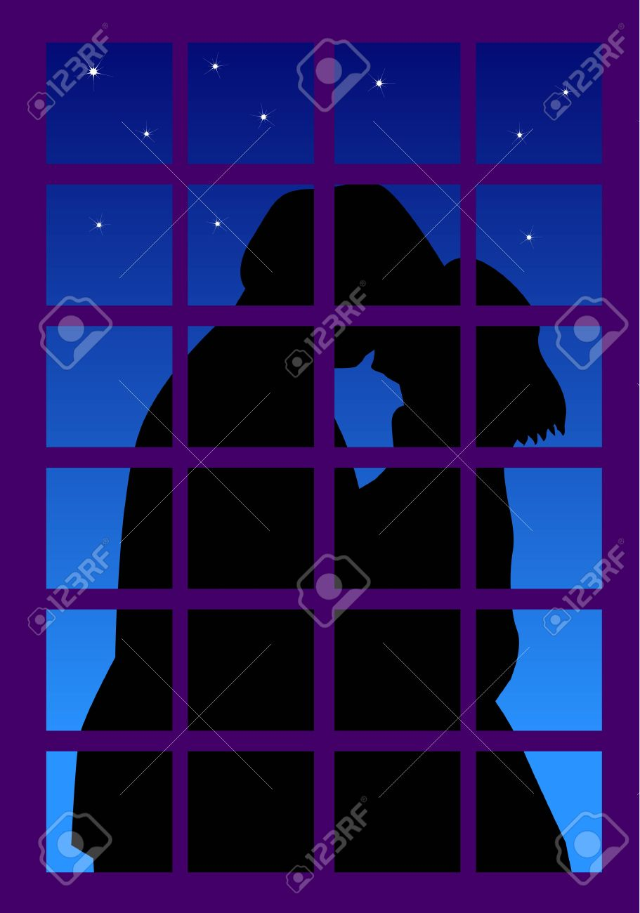 Window at night from outside - Vector A Vector Illustration For A Couple Kissing Outside The Window In A Beautiful Night