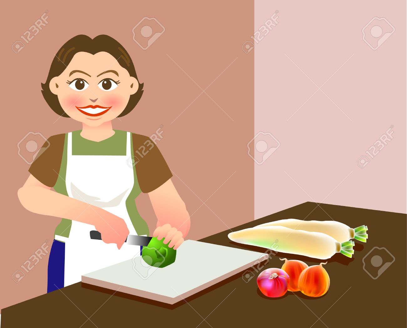 A lovely mother is chopping vegetables, preparing food for cooking Stock Vector - 2689347
