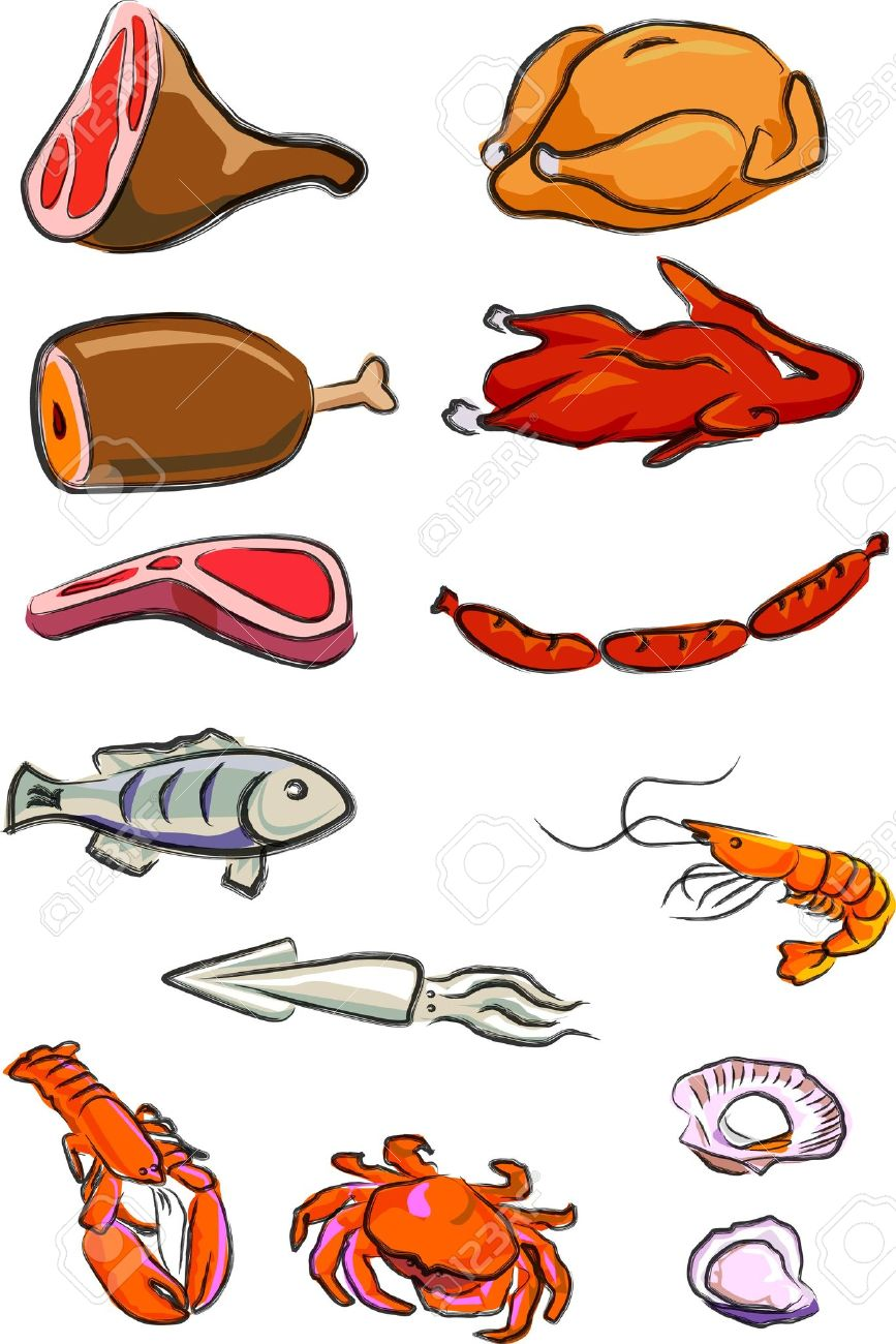a vector illustration for a variety of meats, chicken, duck, pork, beef, lamp chop, hot-dog, fish, squire, lobster, crab, prawn, oyster, scallop, Stock Vector - 2770996