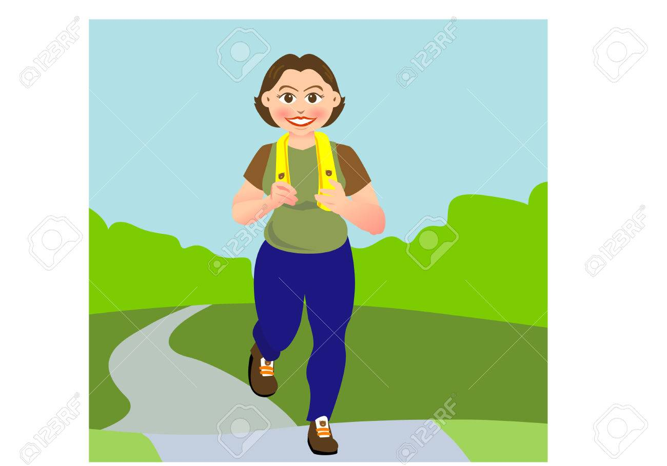 a woman is jogging in a garden or park, Stock Vector - 2770992