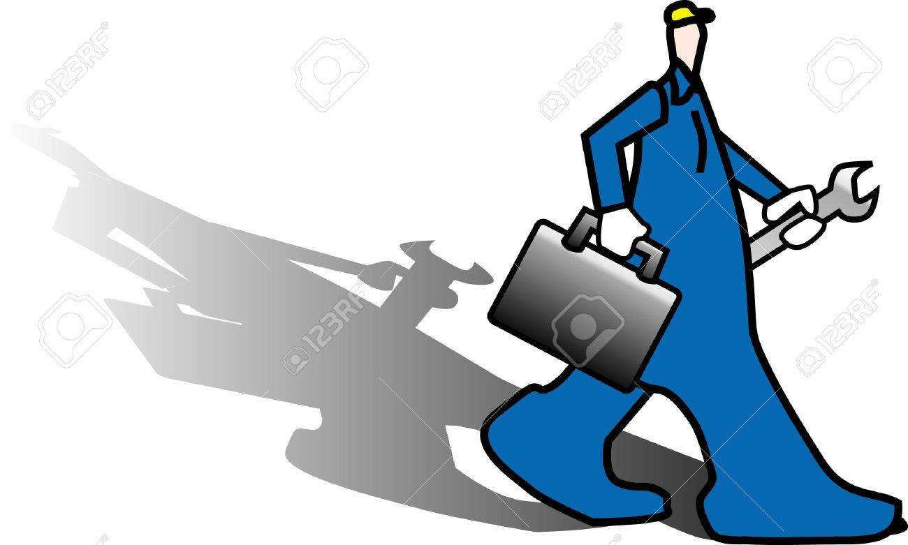 a illustration for a worker bring his work tools going to work Stock Vector - 2824009