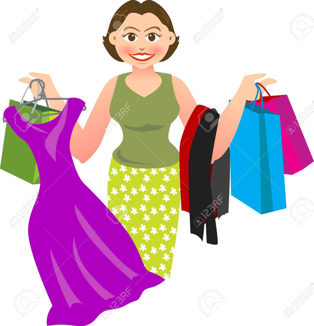 vector illustration for a woman is shopping and buying a lot of things. Stock Vector - 2908171