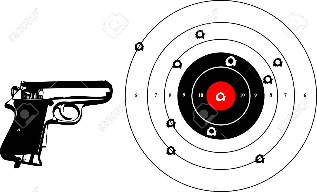 a vector illustration for a gun and a target with bullets holes Stock Vector - 3186923