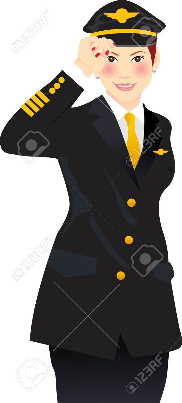 vector illustration for a female airline pilot giving a salute Stock Vector - 3294086