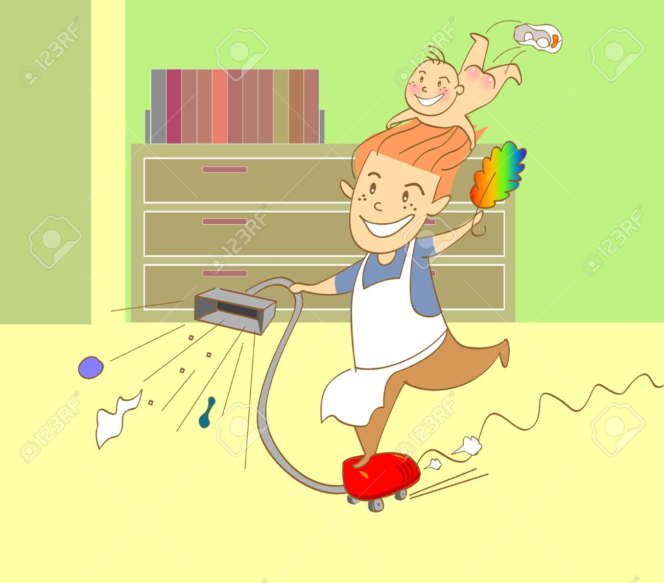 vector illustration for a father doing cleaning work in home Stock Vector - 3294066
