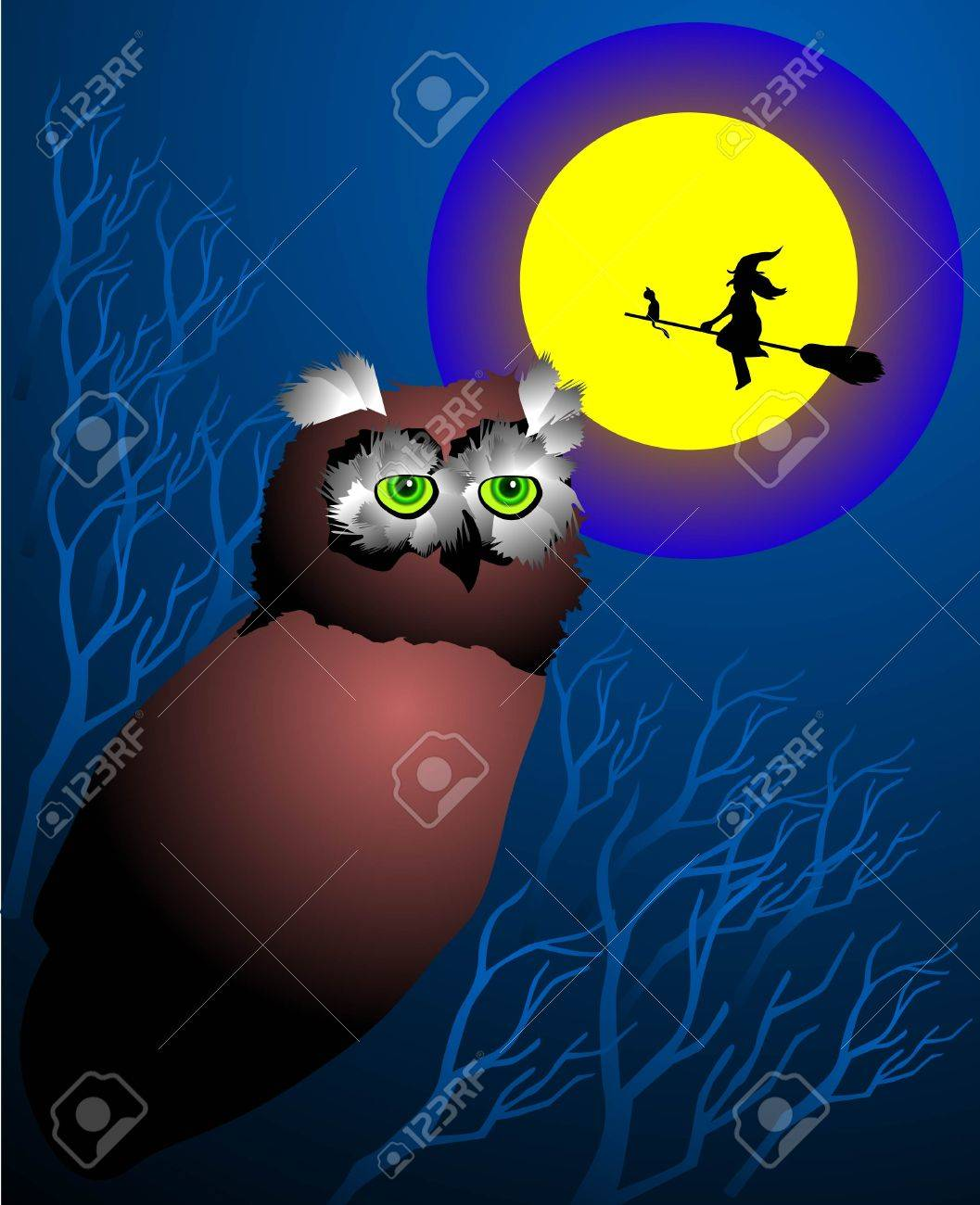 a witch flying over a scary jungle at night. Stock Vector - 3544441