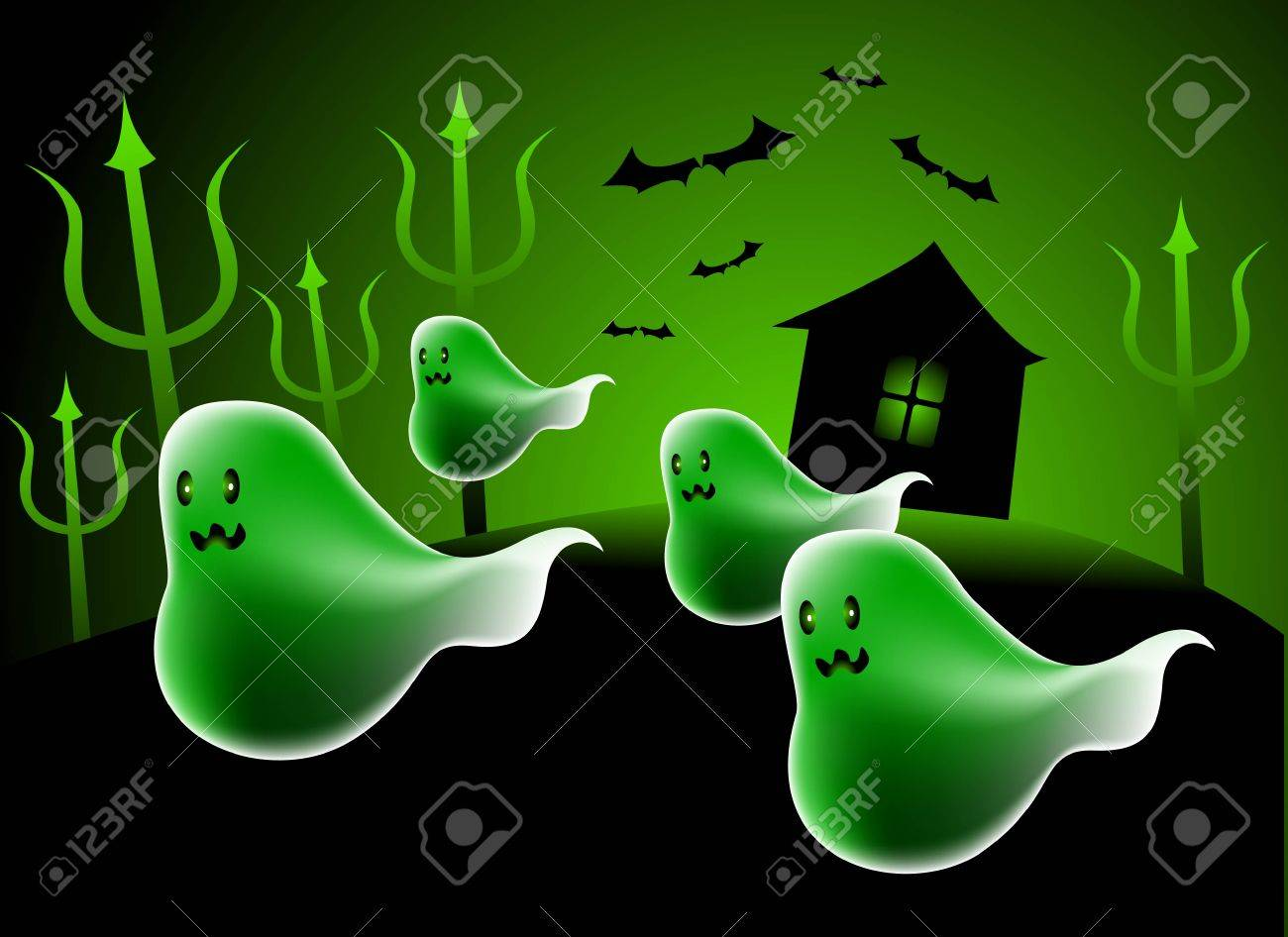 a few ghost flying out at the night. Stock Vector - 3544442