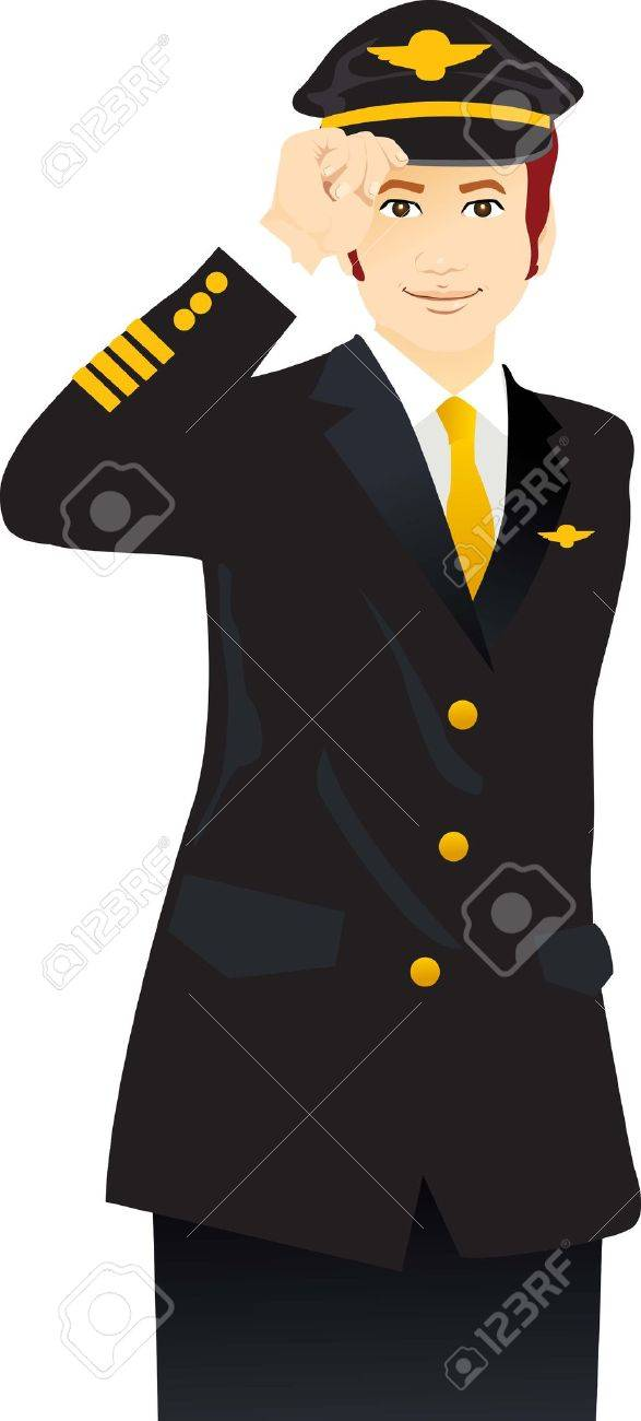 a handsome young airline pilot giving salute Stock Vector - 4358102