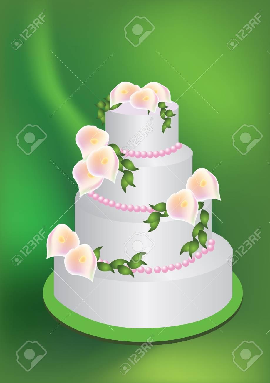 Illustration Fur Eine Hochzeitstorte Mit Lilien An Der Spitze