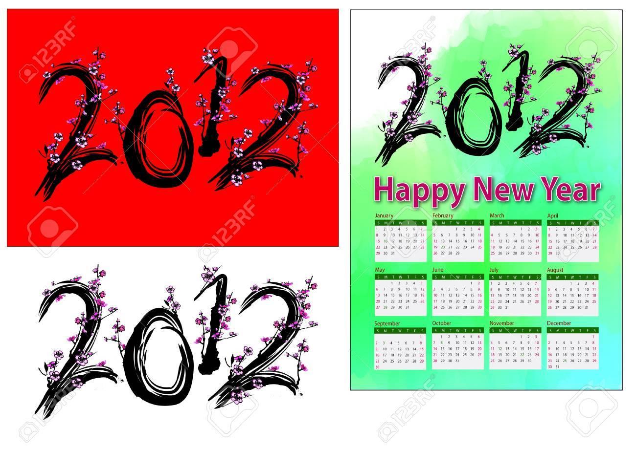A set of 2012 design element, 2012 shape plum tree, 2012 calendar. Stock Photo - 11578034