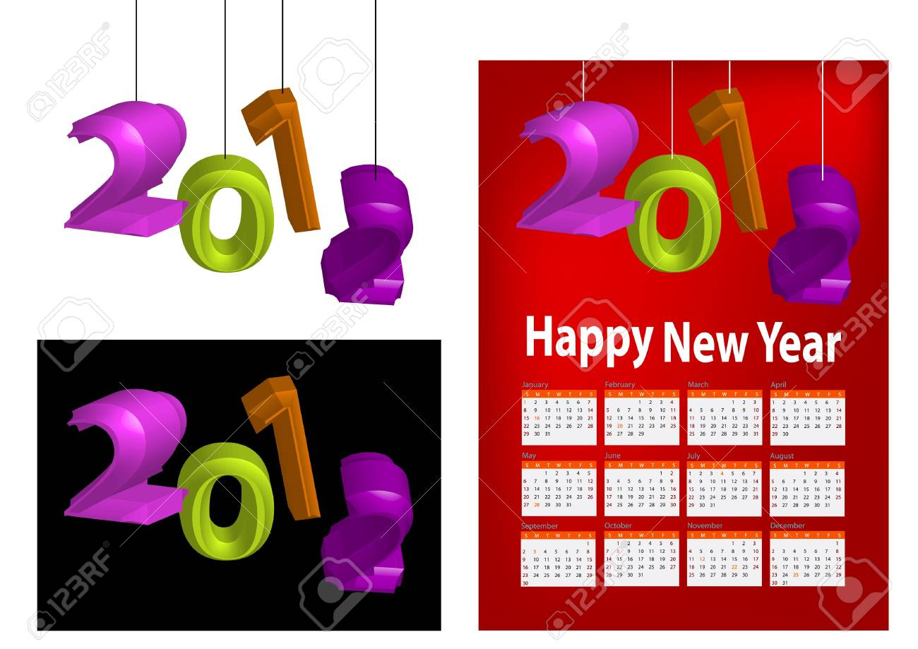 A set of 2012 design element, 2012 shaped lantern, 2012 calendar. Stock Photo - 11578030