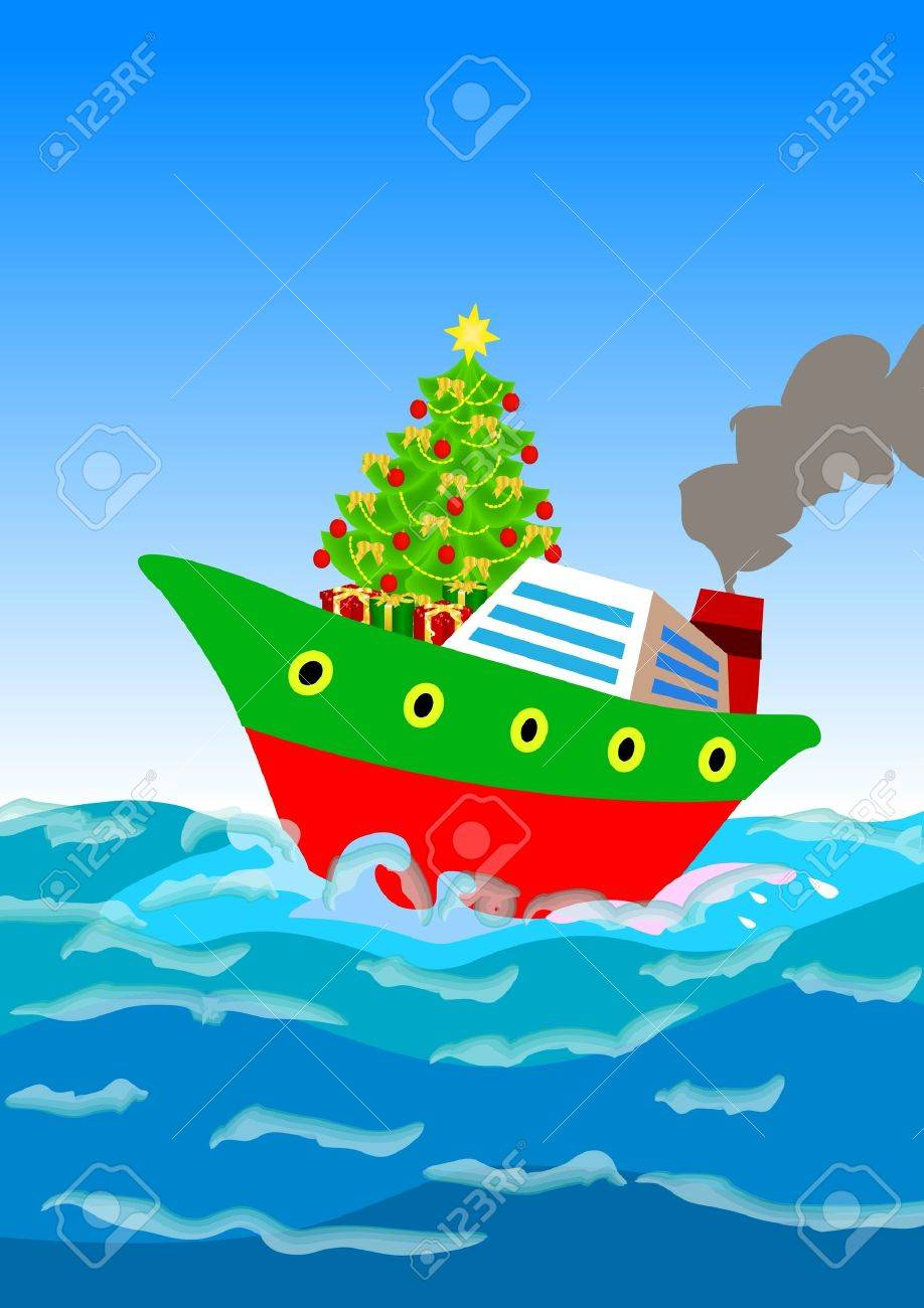 a christmas tree and gifts shipping away by a cruise ship Stock Photo - 11750935