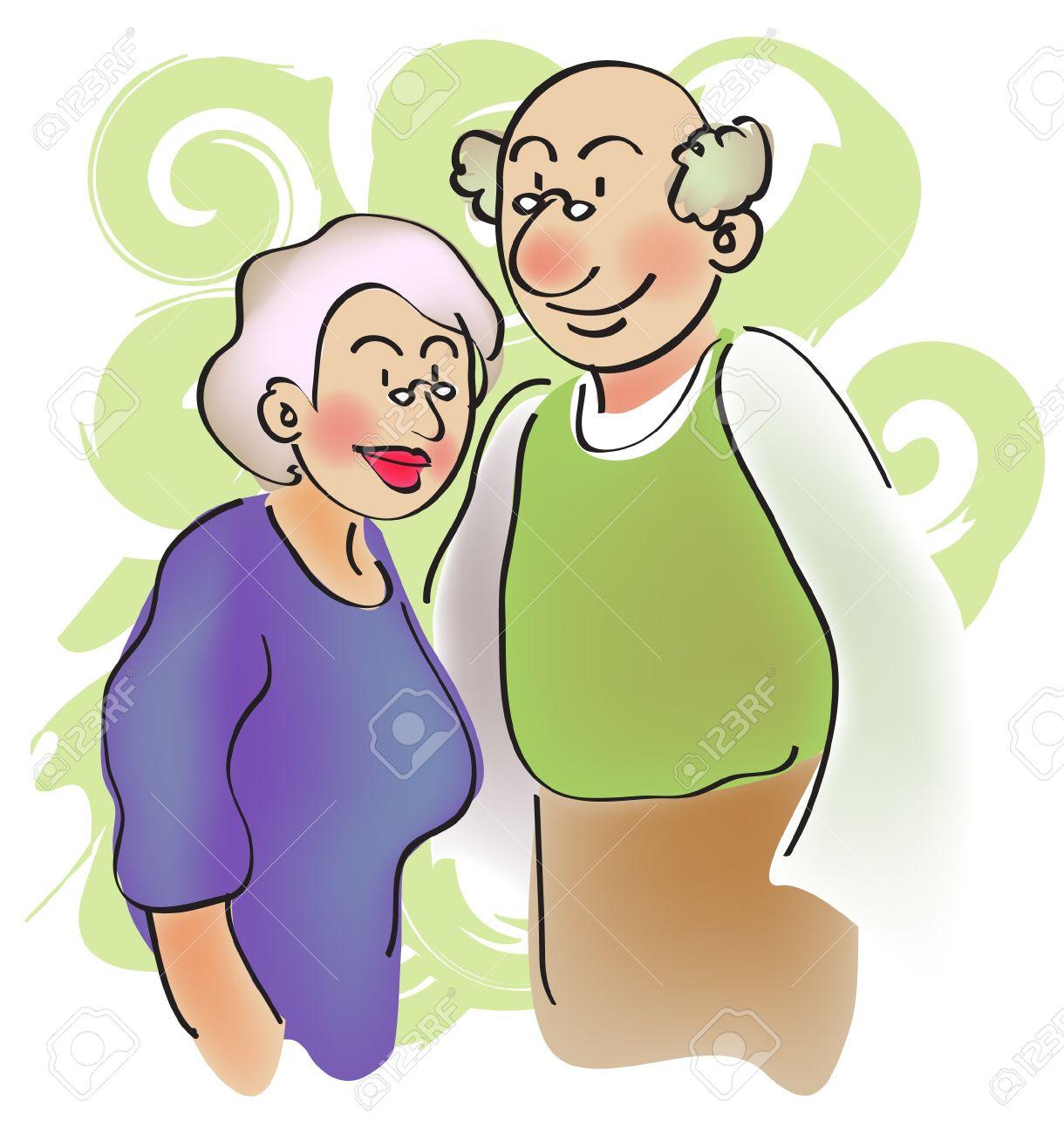 Kreskowki Dla Pary Para Starszych Dziadka Zdjecie Seryjne