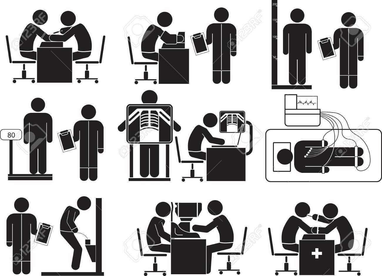 Icono De Examen Físico En Fondo Blanco. Ilustraciones Vectoriales ...