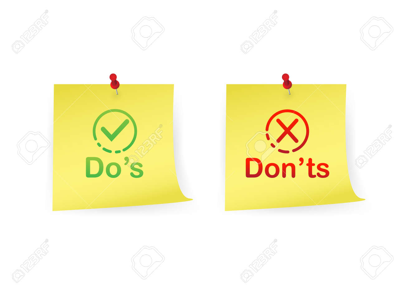 Do's and Don'ts on note sticks illustration isolated on white background - 155707861