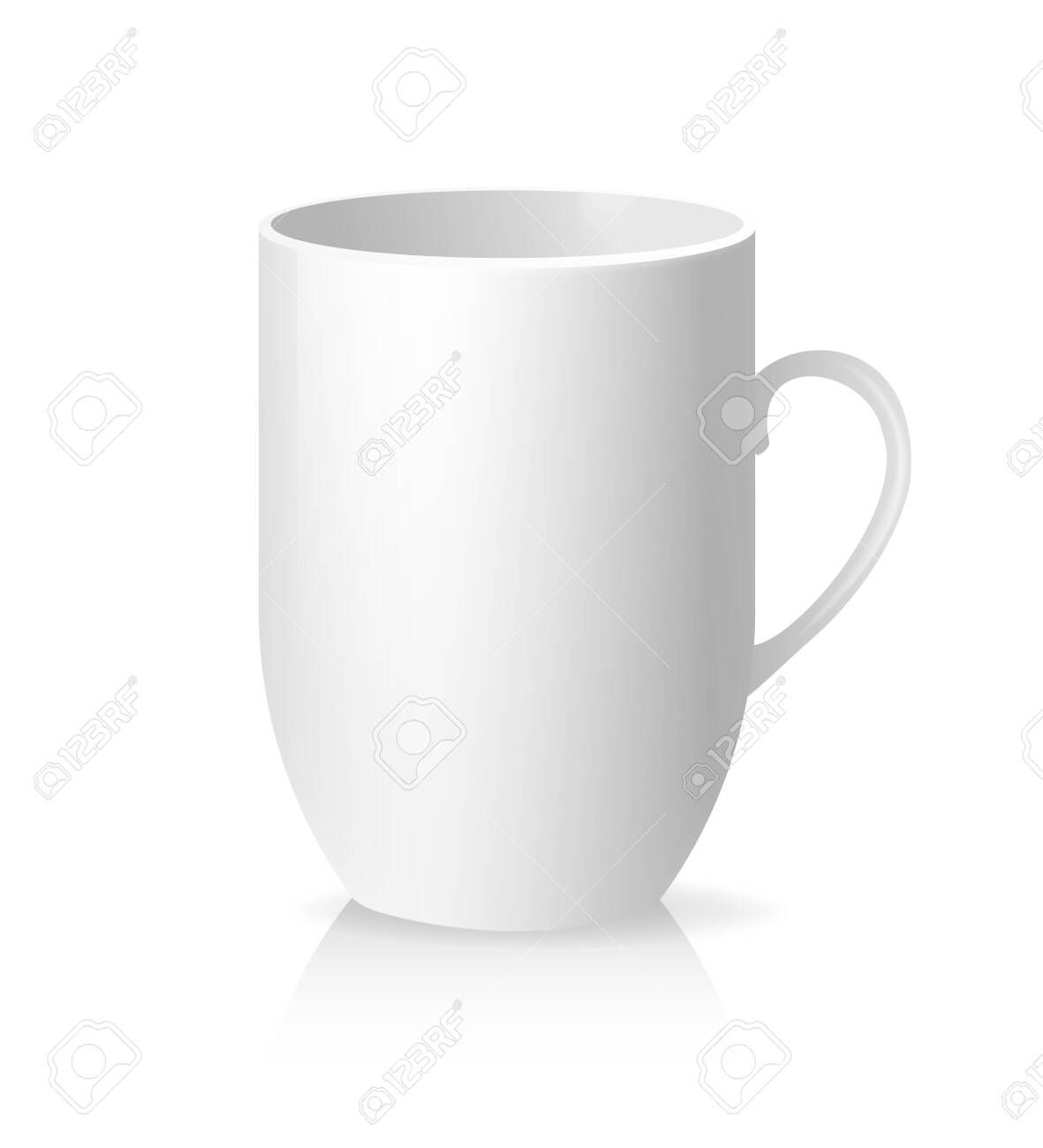 White empty cup in classic style on transparent background. White background. Vector illustration - 155710574