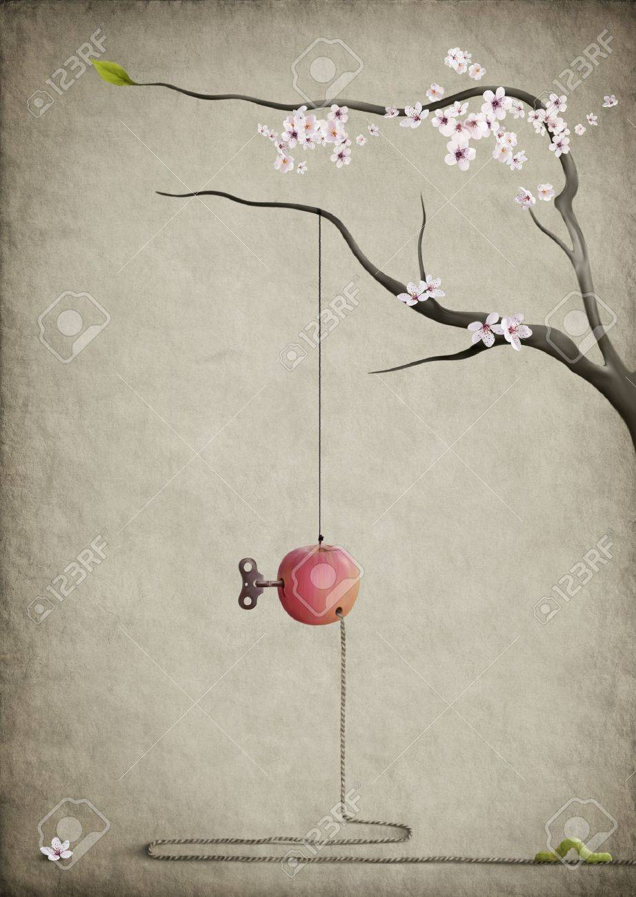 The road home.Surreal poster.Apple, branch, and the worm. Stock Photo - 8634577