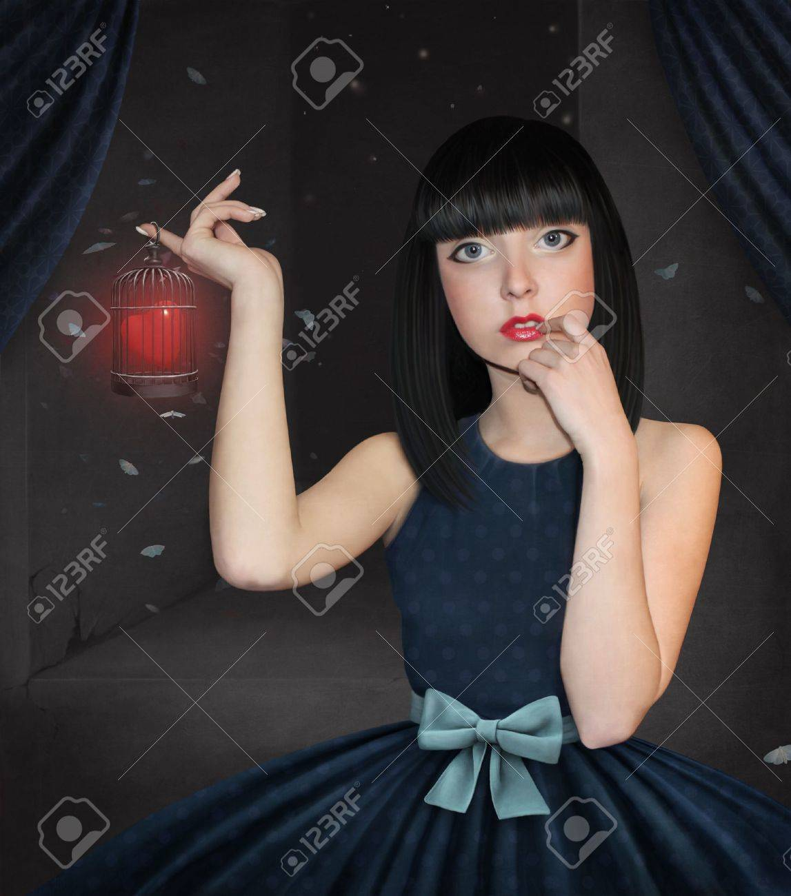 Beautiful girl  with a cage and heart. Stock Photo - 10709190