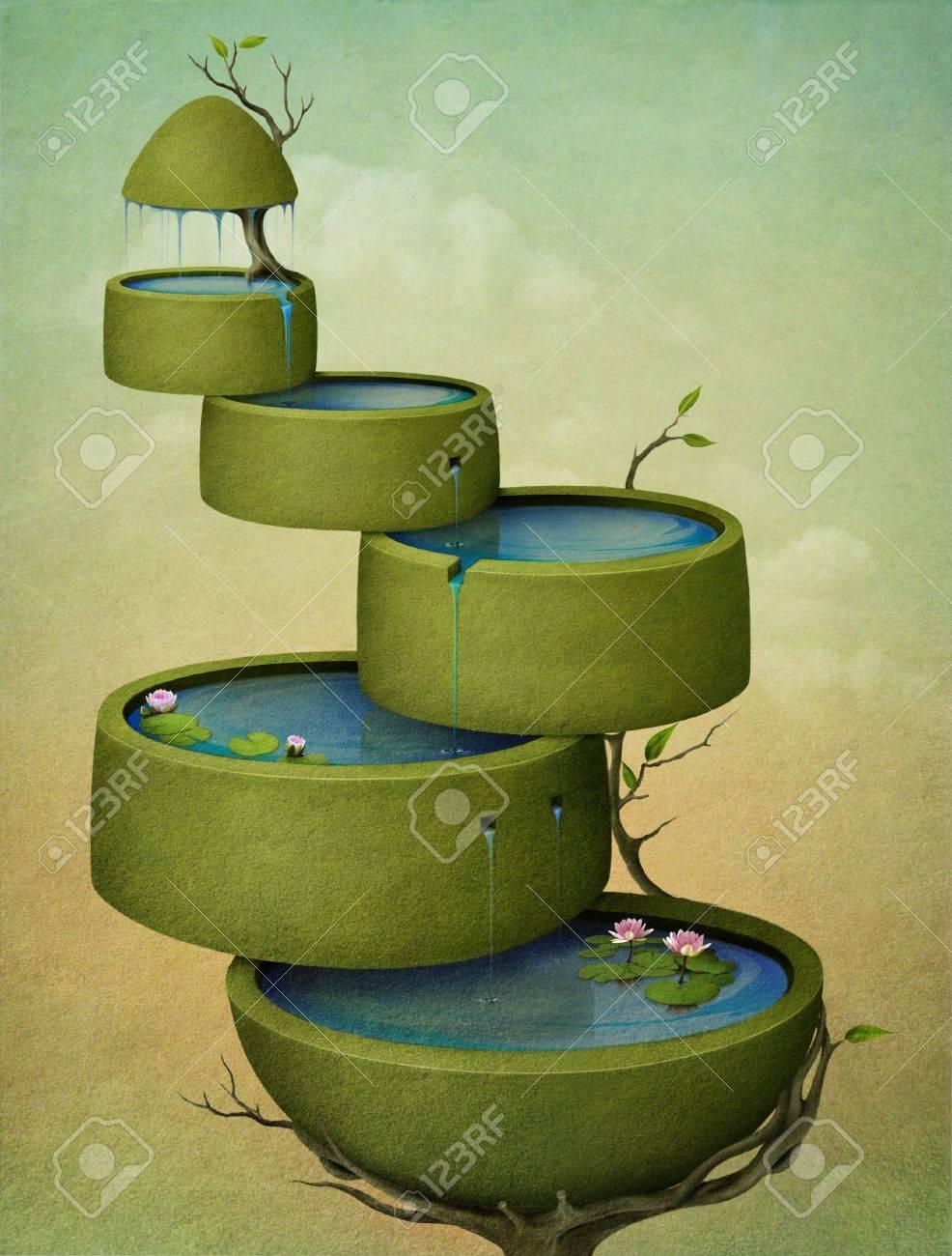 Beautiful greeting card or illustration of tree. Computer Graphics. Stock Illustration - 12879776