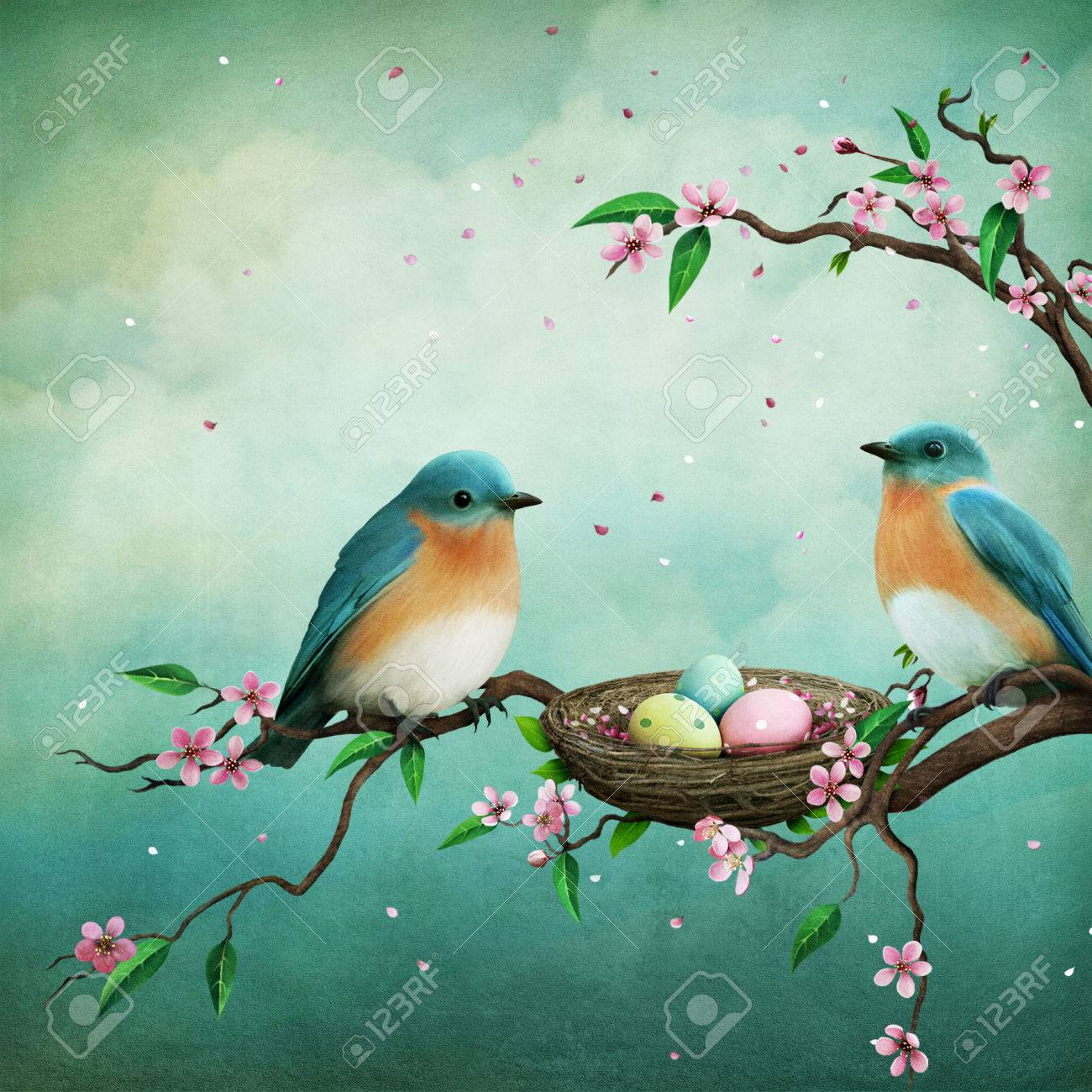 Greeting Card Or Illustration For Easter With Blue Birds And Stock