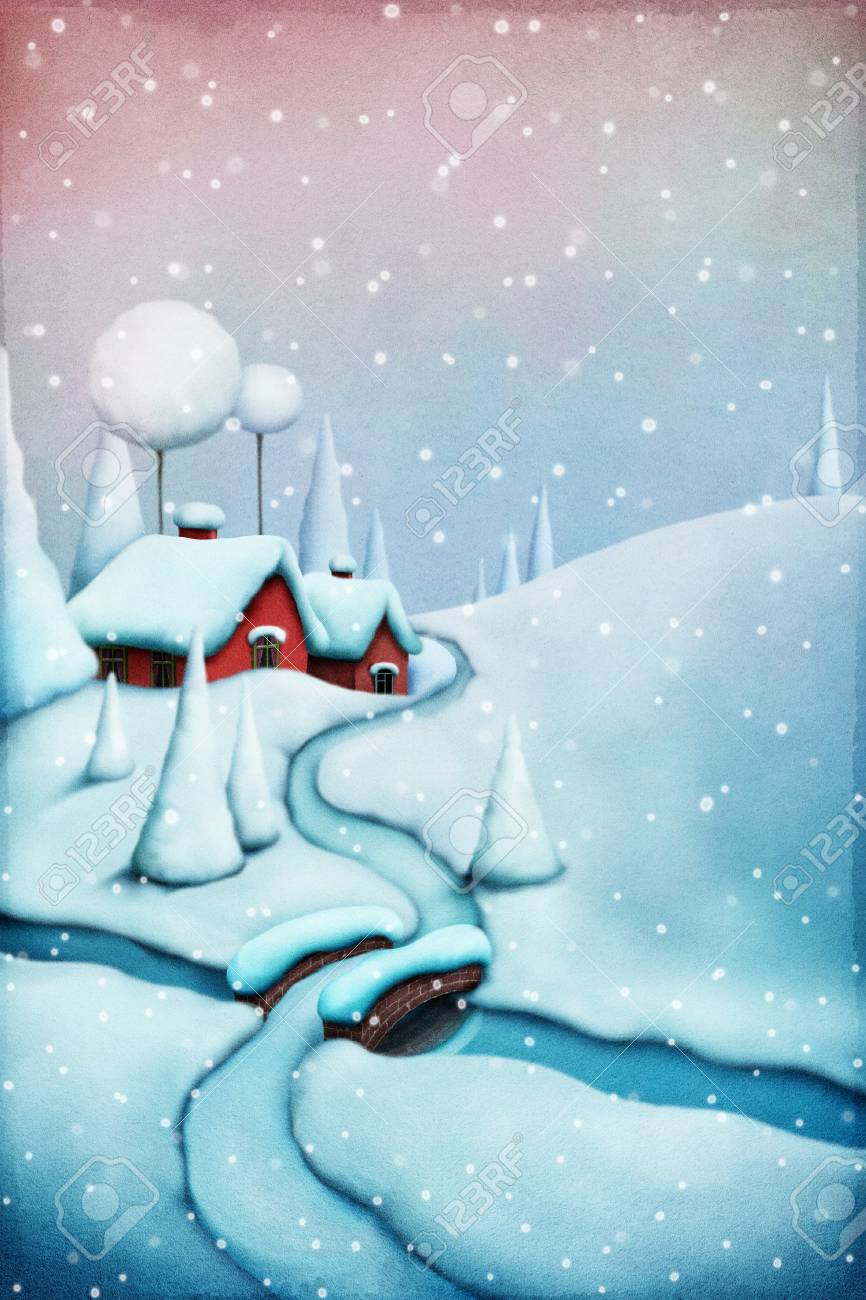 Greeting card christmas with winter landscape and christmas village greeting card christmas with winter landscape and christmas village stock photo 61699425 m4hsunfo