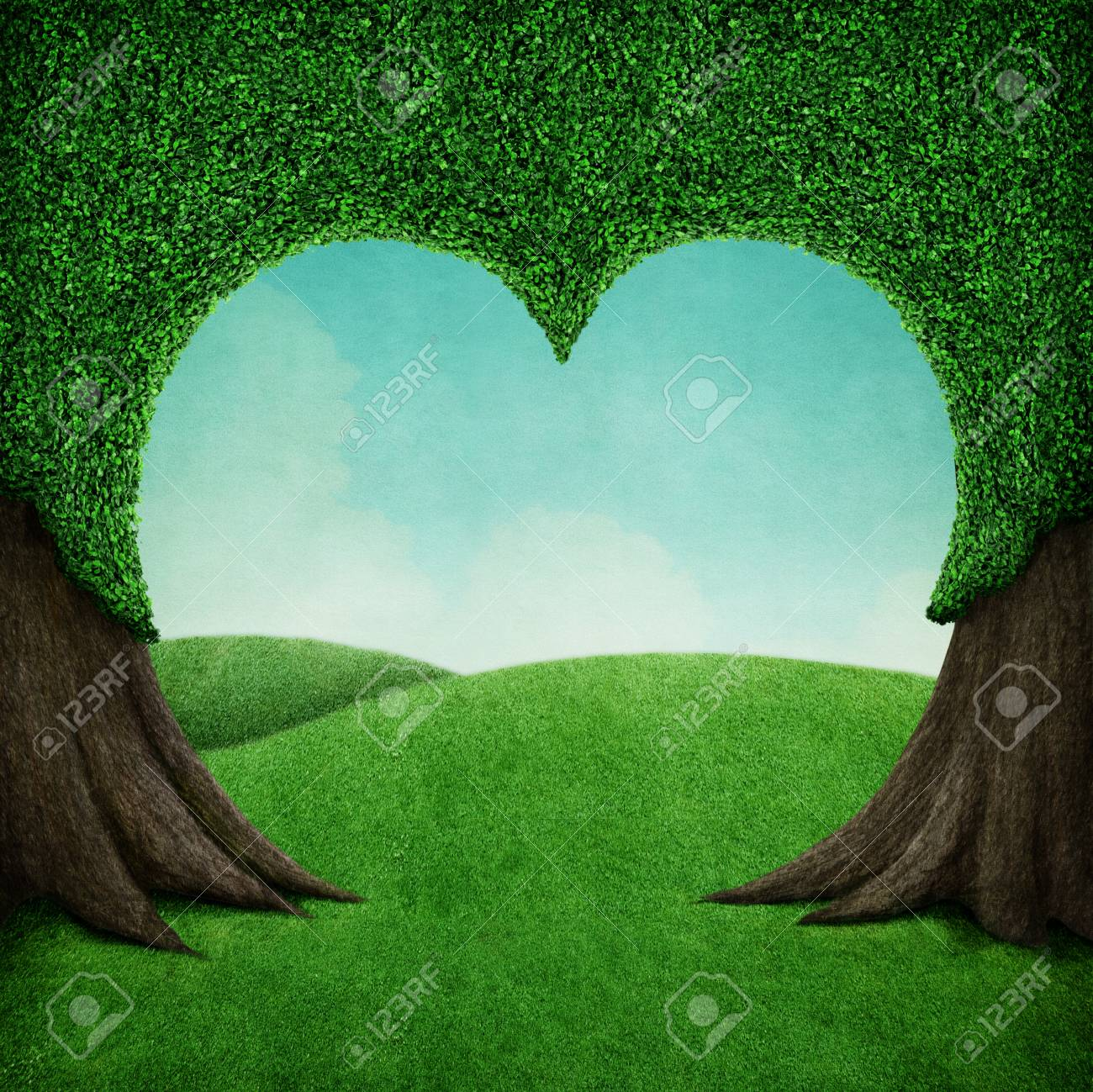 Fantasy Nature Beautiful Background Tree Shape Of Heart And Green Crown And Field Stock Photo