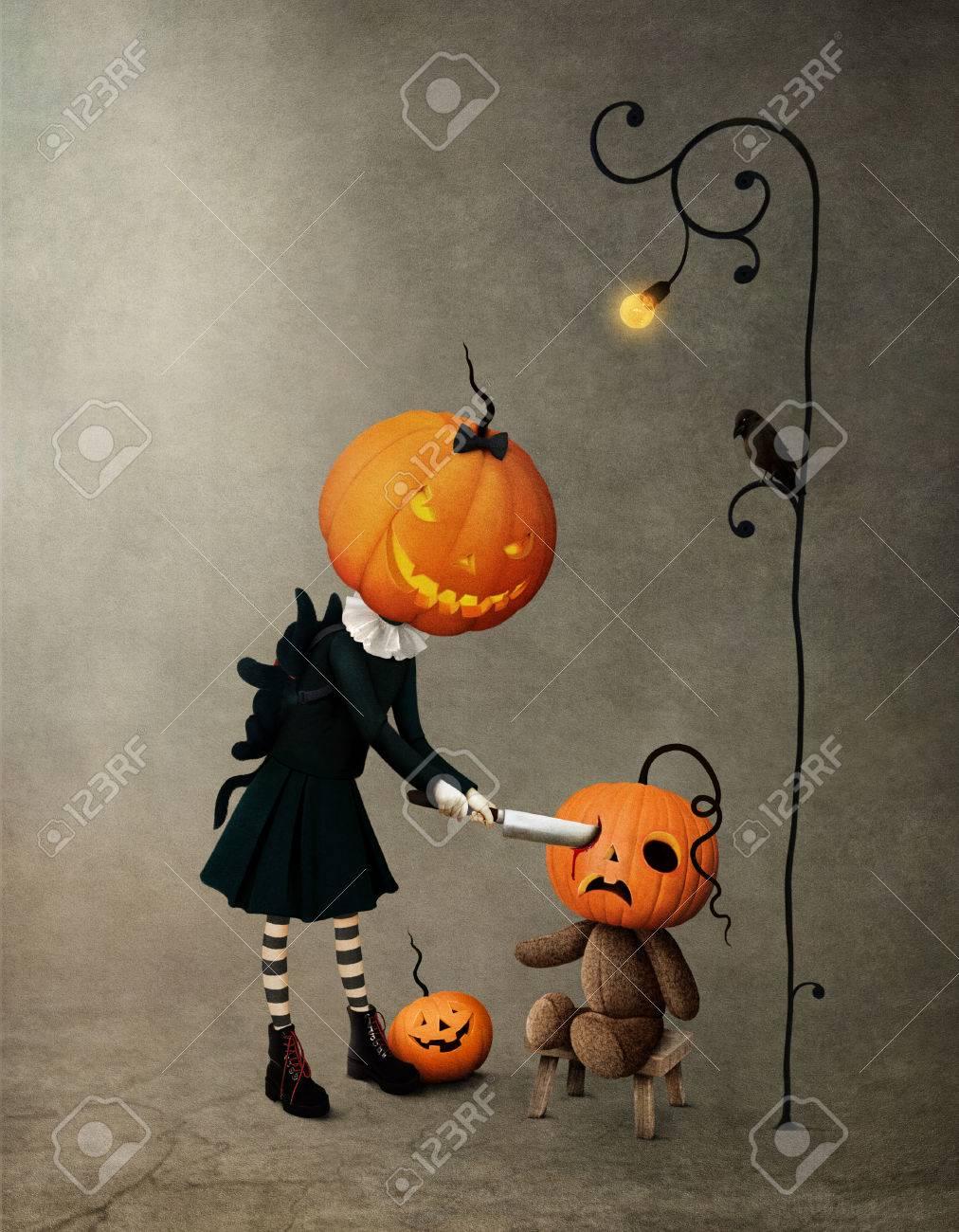 Conceptual illustration holidays greetings halloween with girl conceptual illustration holidays greetings halloween with girl pumpkin and bear stock illustration 83979036 m4hsunfo