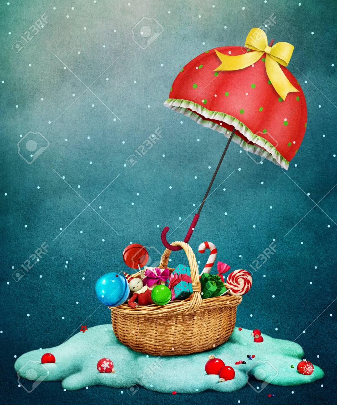 Carte De Voeux De Vacances Fantaisie Pour Noël Avec Parapluie