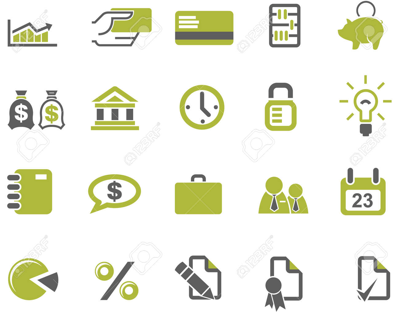 Banks and business icons set Stock Vector - 2758454
