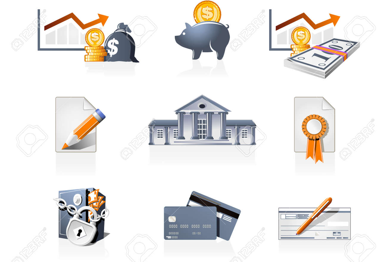 Bank, finances and stock-market icons Stock Vector - 3025560