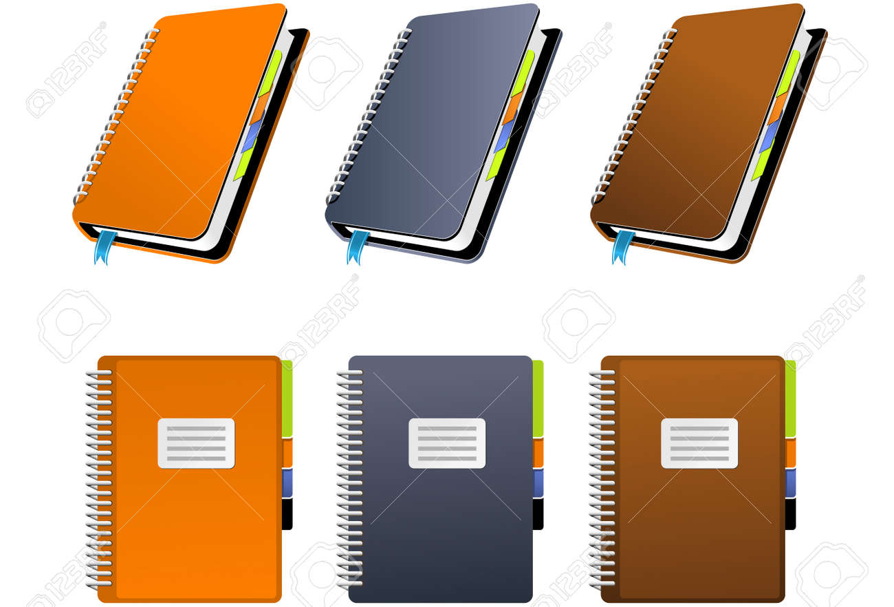 Spiral Notebook in three different colors Stock Vector - 3033538