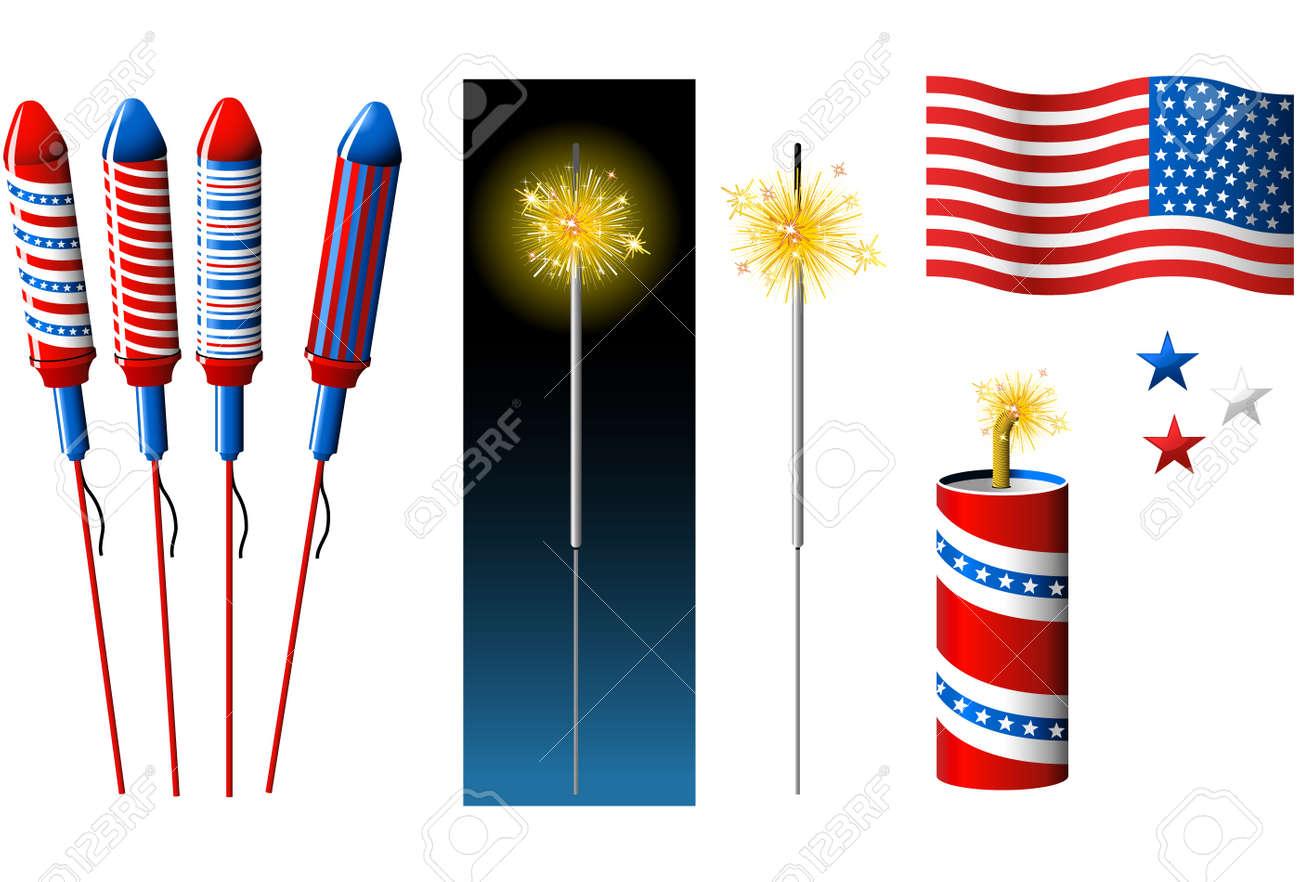 Vector Fireworks, sparkler and American flag Stock Vector - 3090139