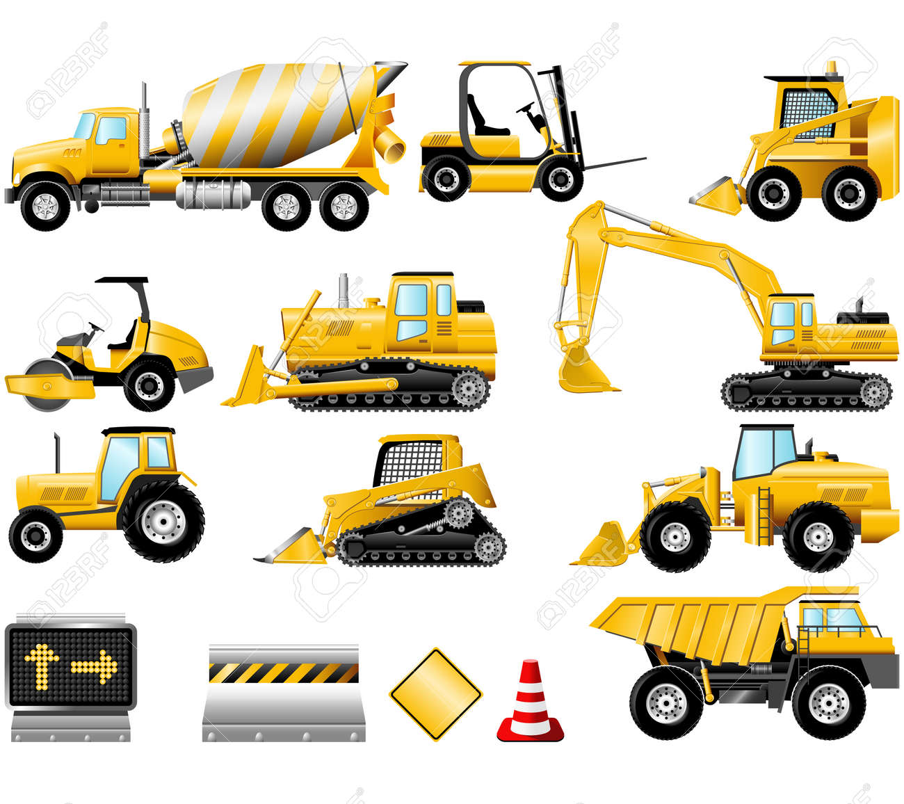 Construction Machinery Icons Isolated On The White Royalty Free
