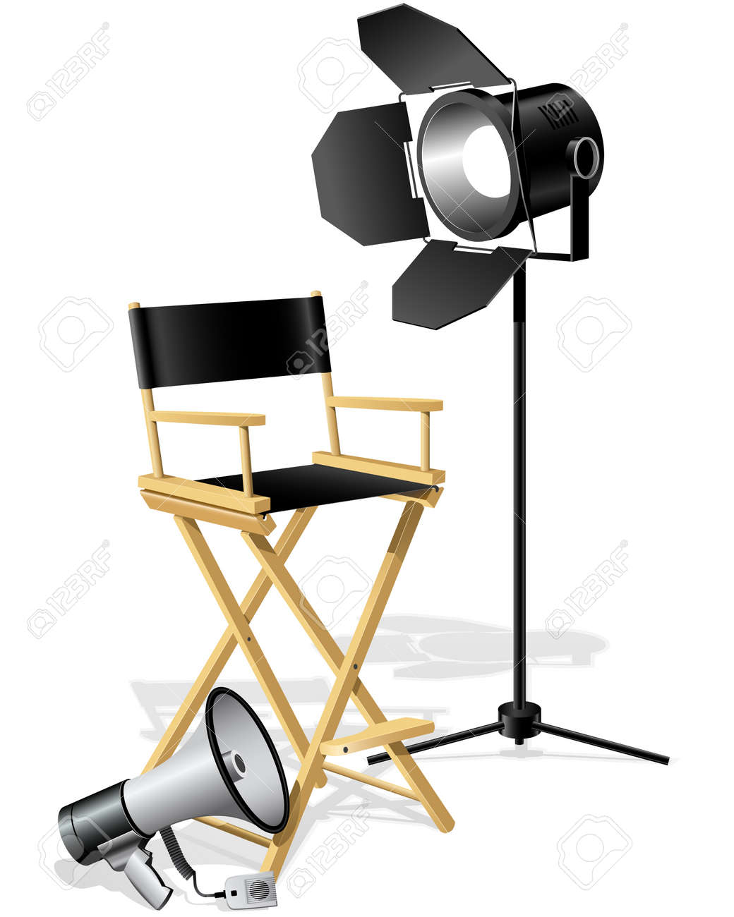 Director's workplace Chair,  Megaphone and searchlight Stock Vector - 6439743