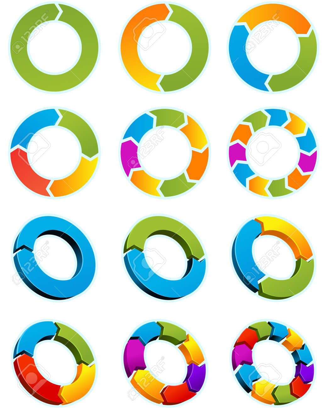 Set of Different arrow circles isolated on the white - 6708759