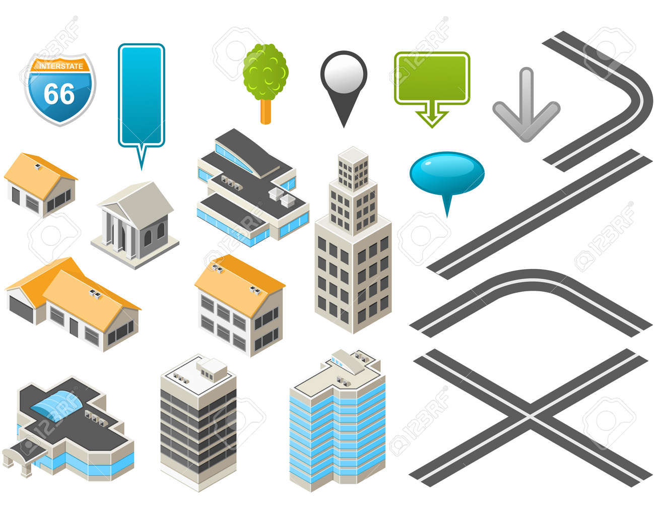 Map Toolkit With Isometric Buildings And Roads Royalty Free - Us road map vector free